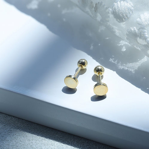 10 Karat Solid Round Studs in Yellow or White Gold
