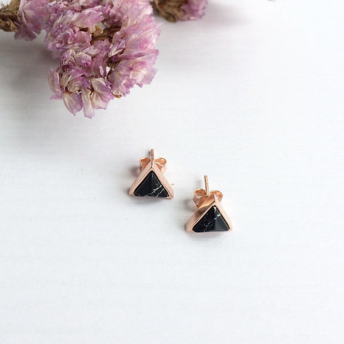 Black Howlite Triangle Studs