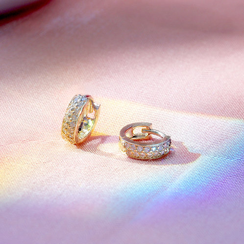 10 Karat Opulence Huggie Earrings in Yellow or White Gold