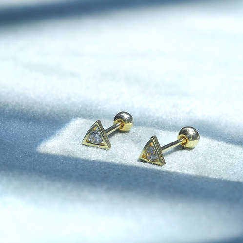 10 Karat Shining Triangle Studs in Yellow or White Gold