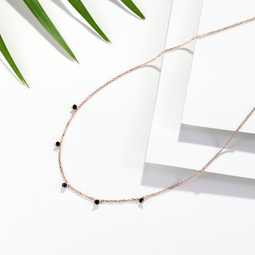 Gypsophila Black Spinel Necklace