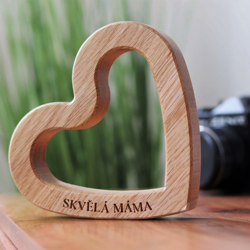 Dřevěné srdce s věnováním
