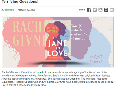 Rachel Givney, author of Jane in Love, answers our Ten Terrifying Questions!
