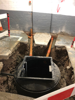 Sewage inlet, cable duct & vent pipe