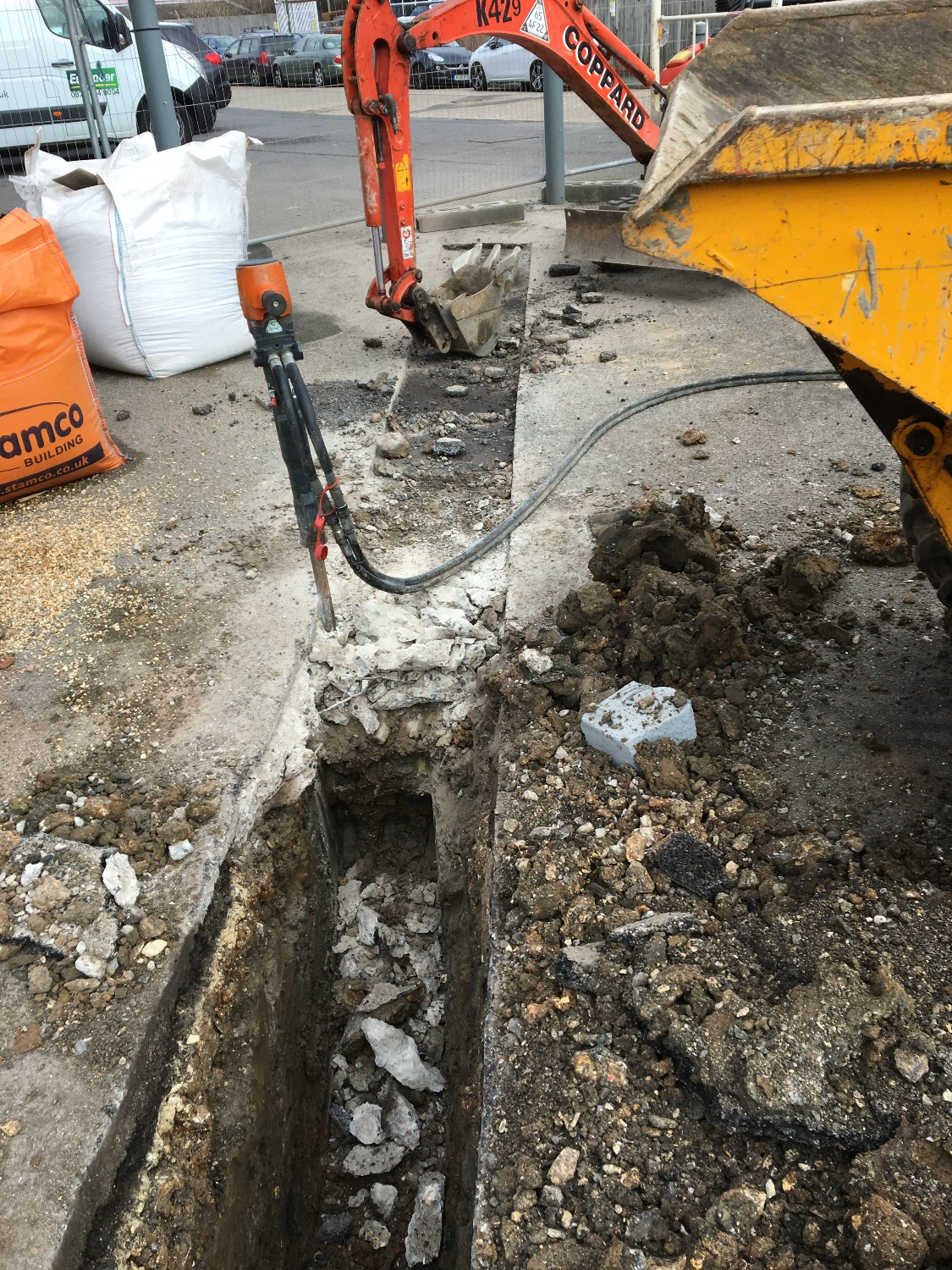Trenching for drainage install