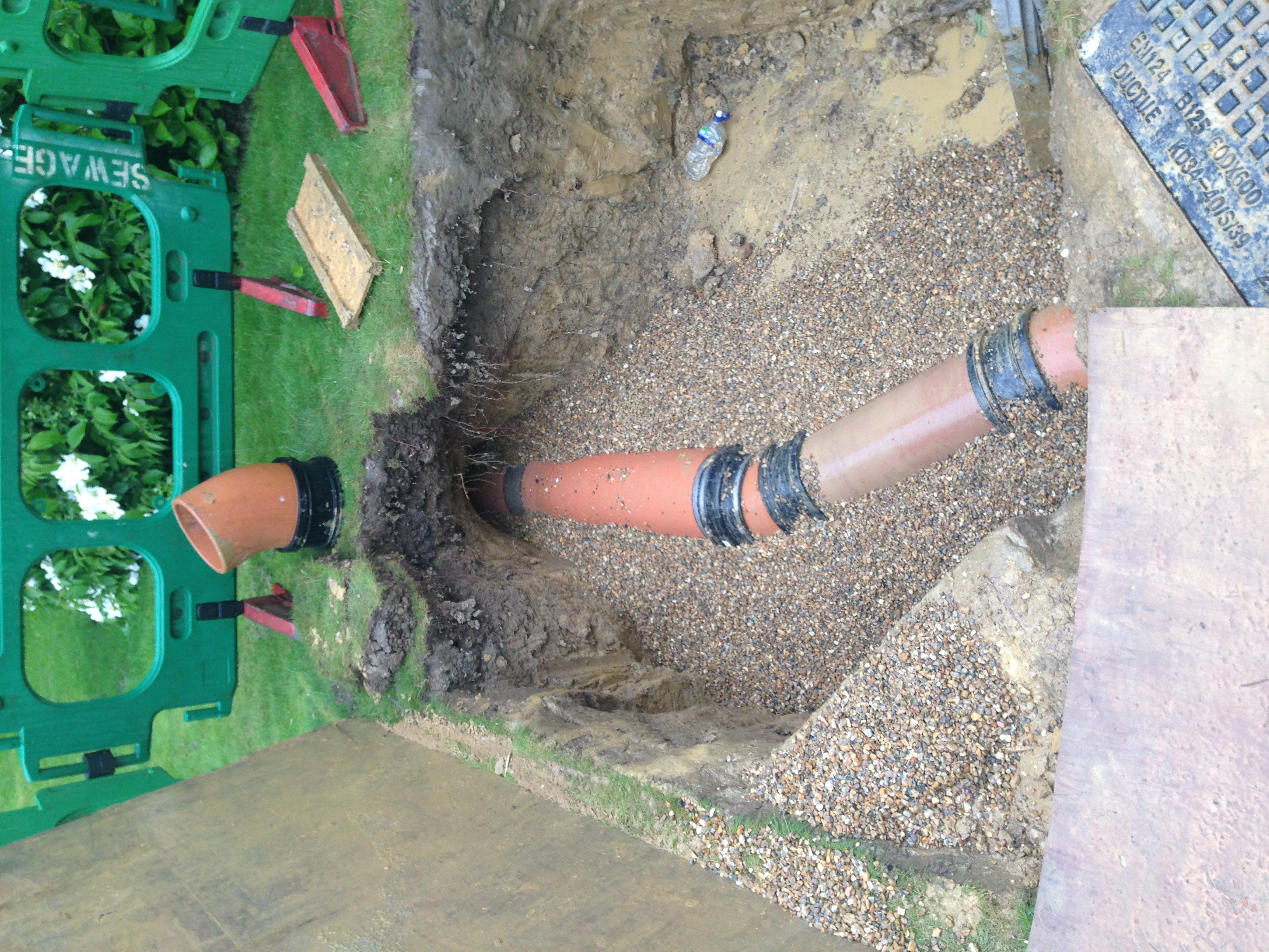 Main sewer pipe installed