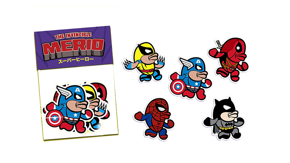 THE INVINCIBLE MERIO STICKER PACK - SUPERHEROES - ステッカーパック