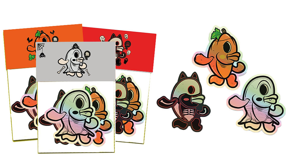 FISHES INVASION HALLOWEEN HOLOGRAPHIC STICKER PACK ステッカーパック