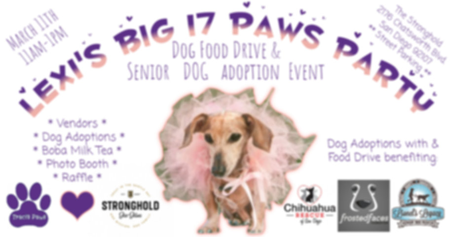 Invitation to Lexi's BIG 17 Paws party, benefiting senior dog rescues.