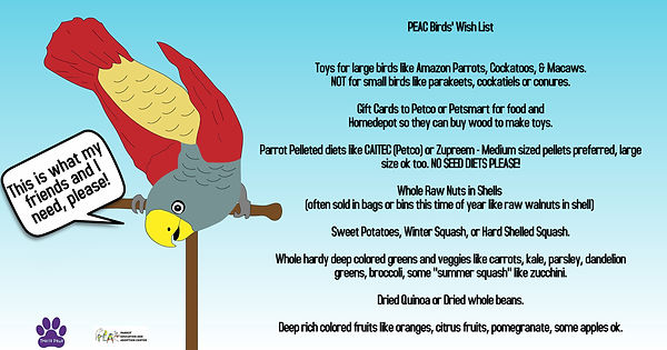 Bird Food Wish List for PEAC Parrot Educ