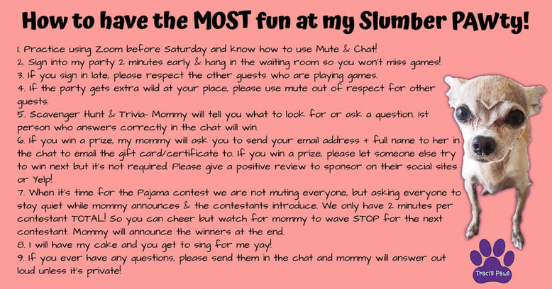 Emee the Chi Birthday Party Rules for Ha