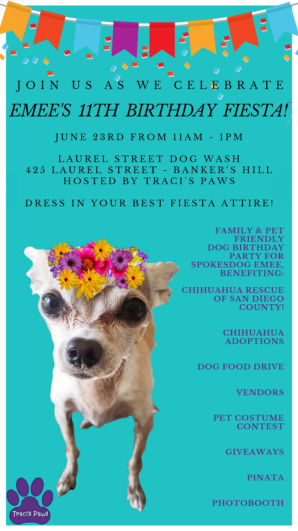 Traci's Paws Spokesdog Emee's 11th Birthday Fiesta Flyer for her party.