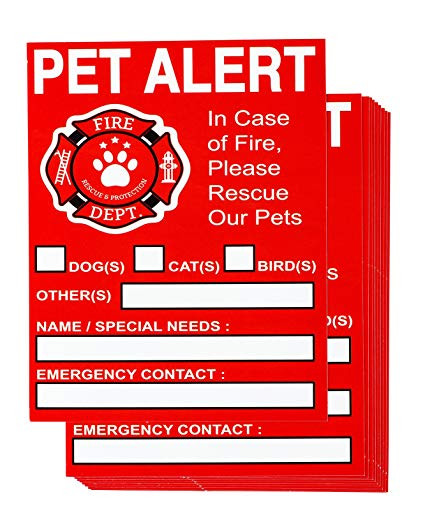 Pet alert sticker for your door that will help emergency crews know to rescue your pets in the event of an evacuation.