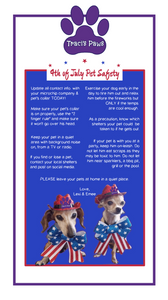Traci's Paws Tips for 4th of July pet safety.
