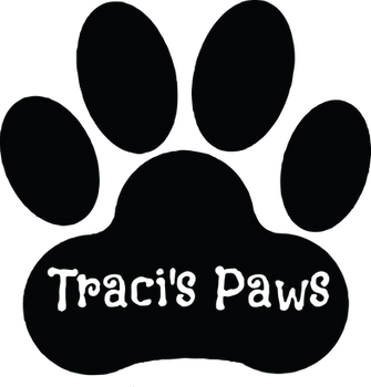 Traci's Paws black and white logo supporting Black Lives Matter, and Juneteenth.