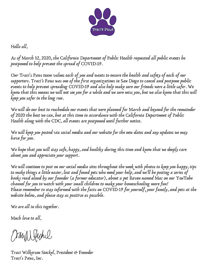 A Letter to Our Supporters Traci's Paws