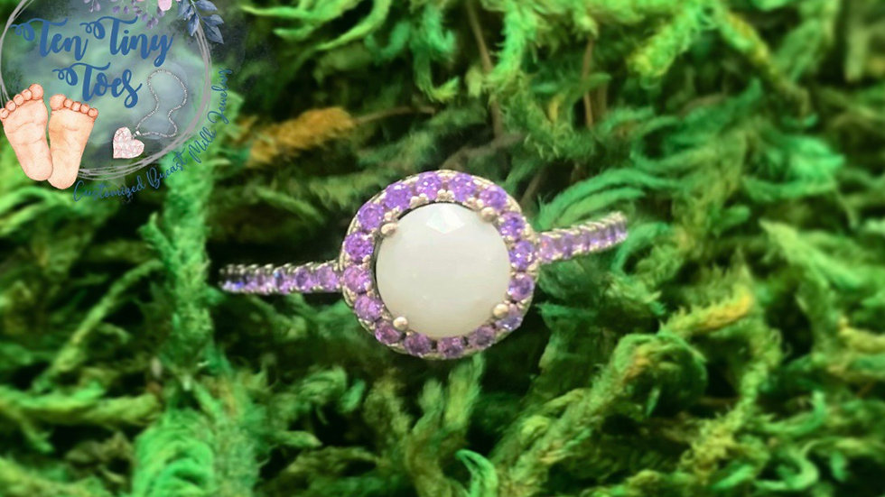 Birthstone Round Halo Ring