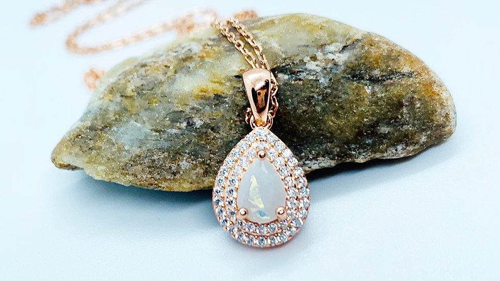 Double Halo Pear Necklace