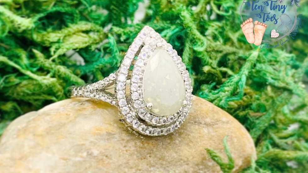 Tear Drop Double Halo Ring