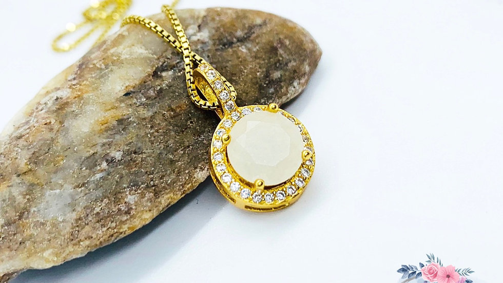 Round Halo Necklace