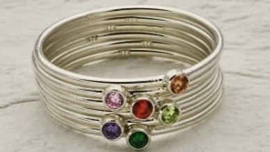 Silver Stackable Birthstone Ring