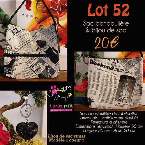 """Lot 52 - Sac bandoulière + bijou de sac """"strass"""""""