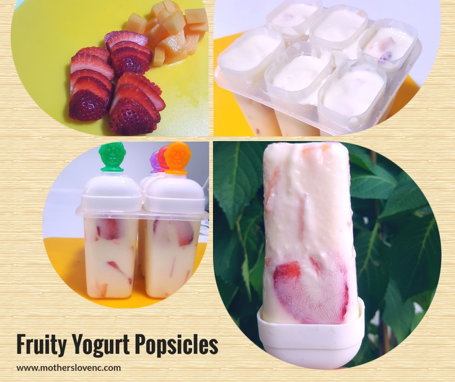 Fruity Yogurt Popsicle. Healthy Kids snacks
