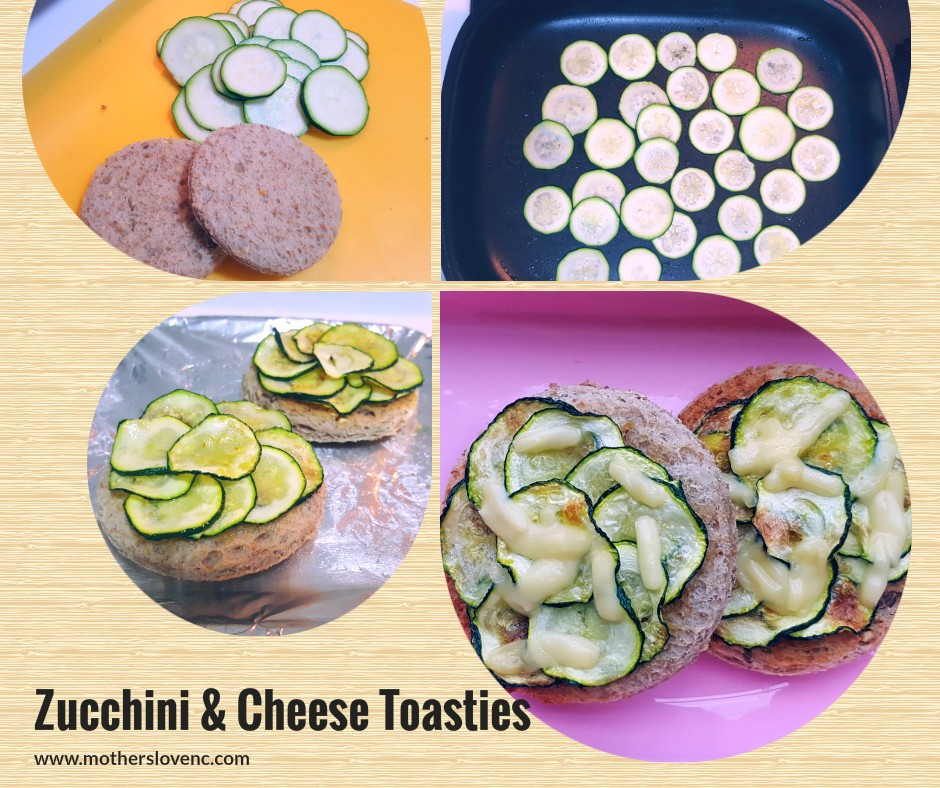 Zucchini & Cheese Toasties. Healthy Kids snacks