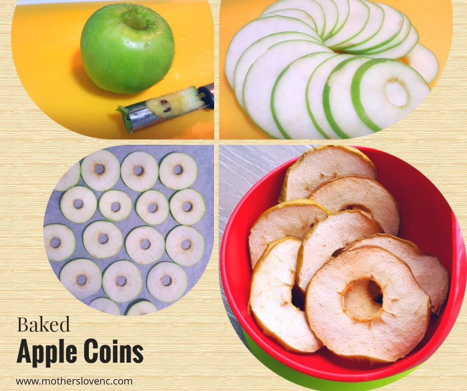 Baked Apple Coins. Healthy Kids snacks