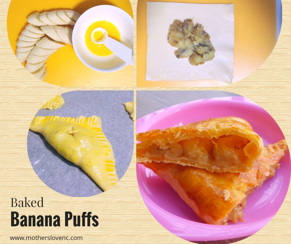 Baked Banana Puffs. Healthy Kids snacks