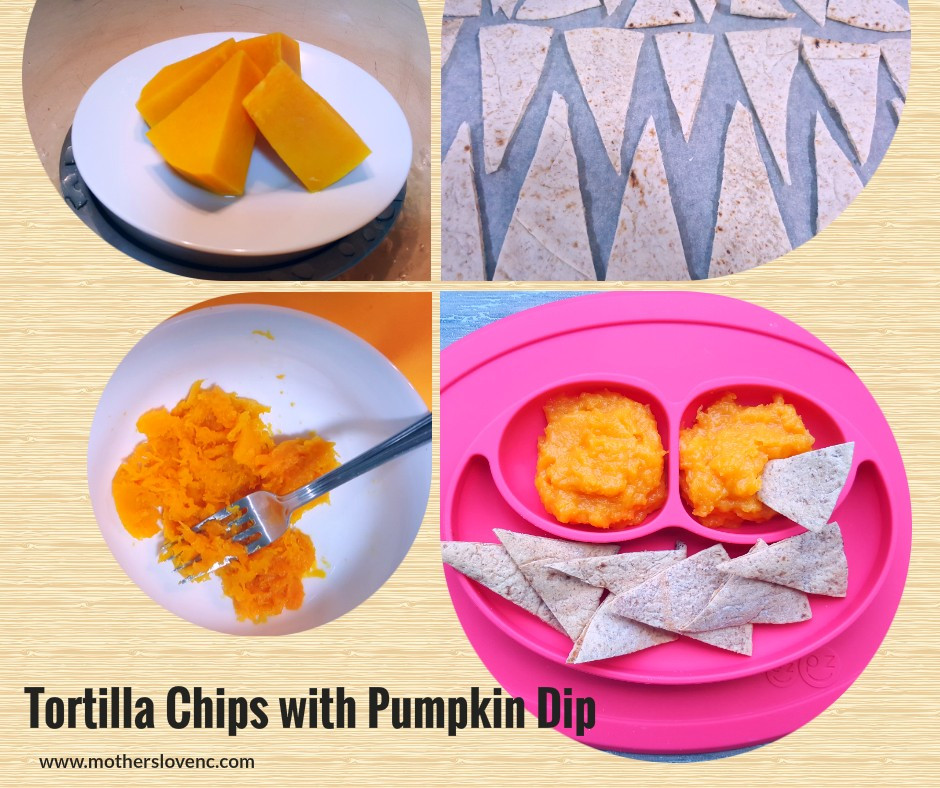 Tortilla Chips with Pumpkin dip. healthy kids snacks