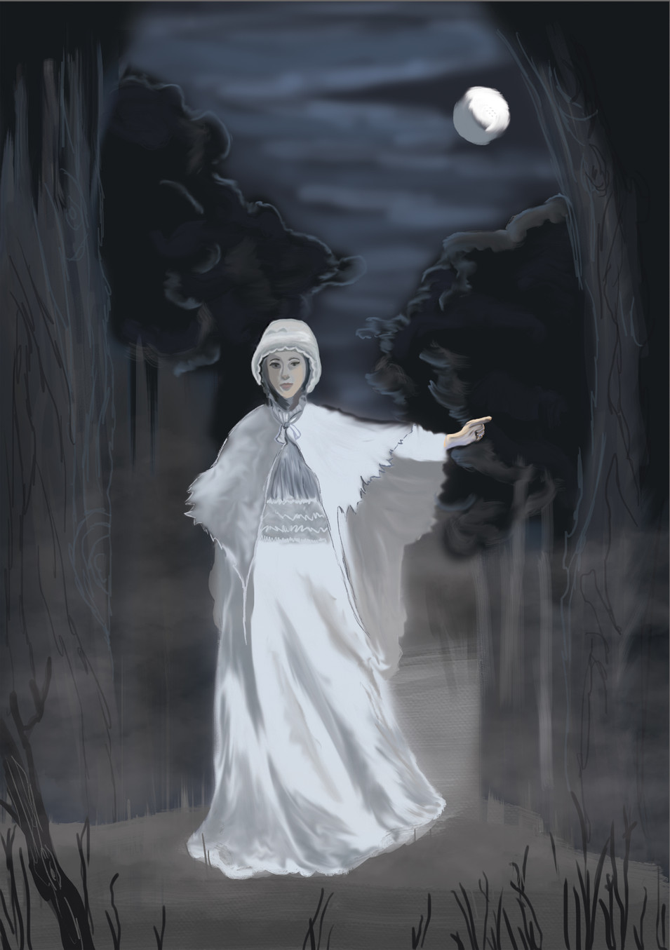 Woman In White Digital Painting