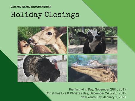 Oatland Island Holiday Closings
