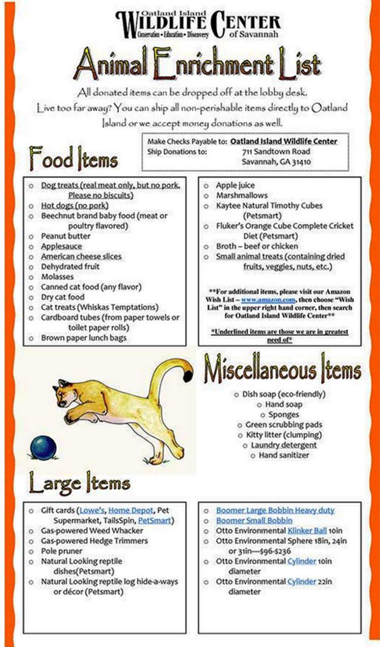 Oatland Island Animal Enrichment Wish List