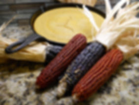 Floriani Red Flint and Hopi Blue corn, with Floriani cornbread