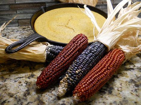 Floriani Red Flint and Hopi Blue corn, with Floriani cornbread