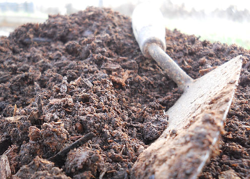 hand trowel and rich soil