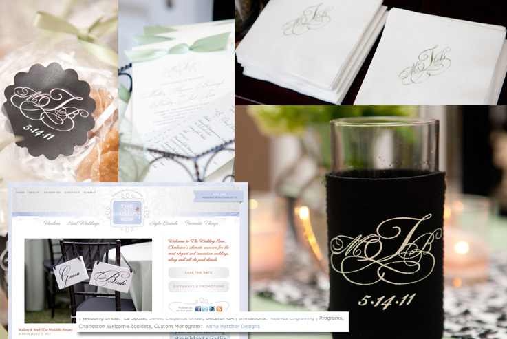 Wedding Monogram, Stickers, Programs