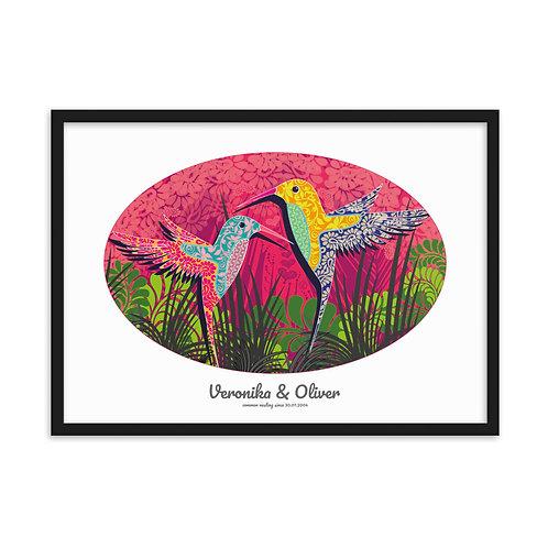 Wedding Hummingbird White - personalised framed poster art /b