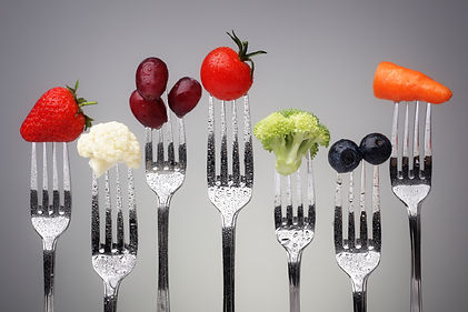 Fruit and vegetable of silver forks agai