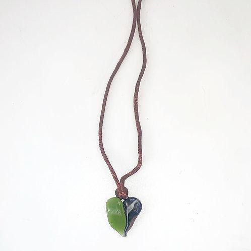 Green x swirly heart on brown satin