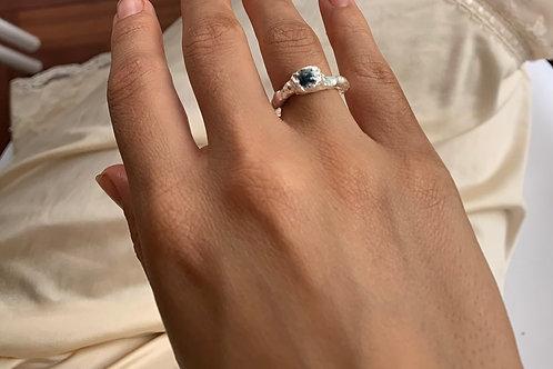 Silver x sea glass ring