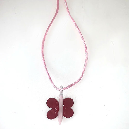 Pink x Red Glass Butterfly Necklace