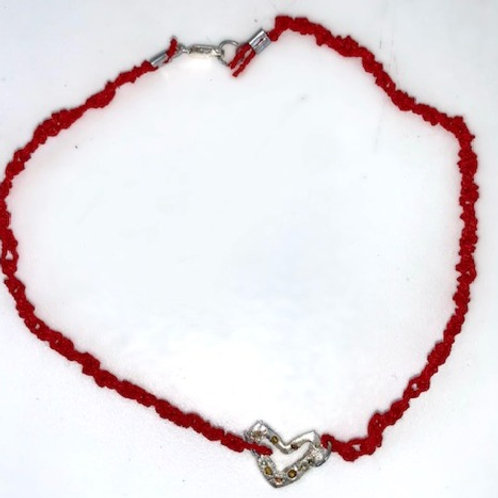 Silver heart on red cord choker