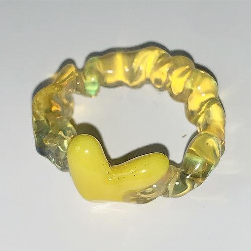 Yellow heart glass ring