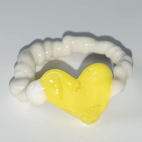 Yellow heart white glass ring