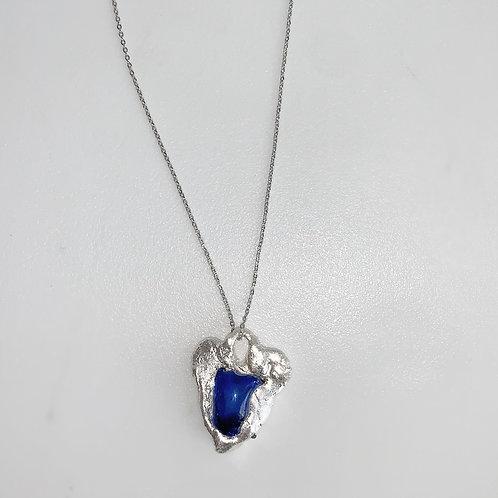 Silver x sea glass big blue heart on silver chain