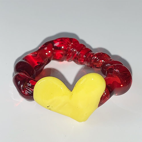 Yellow heart red glass ring