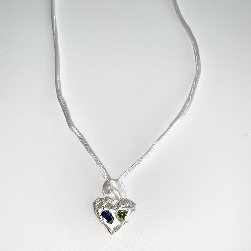 Silver x sea glass heart on satin