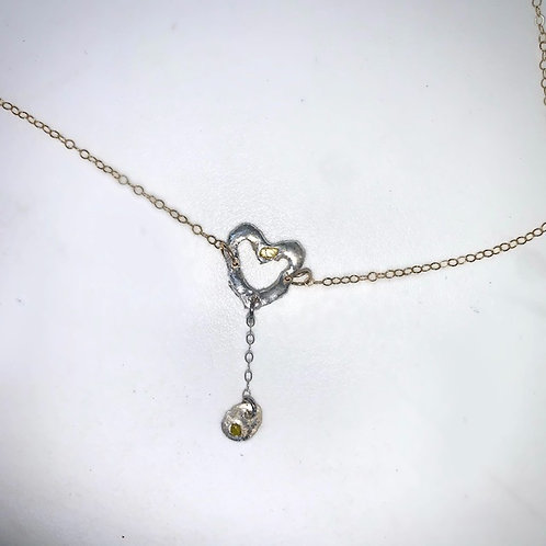 Silver heart drop belly chain